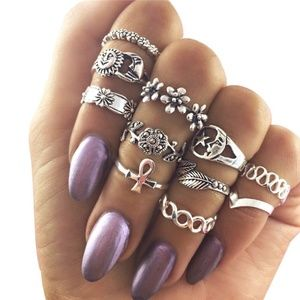 Sun and Moon Midi Knuckle Ring Set